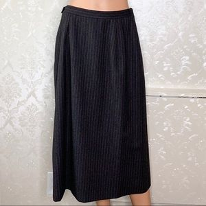 Burberry Skirts - Vintage Burberry's Gray Red Pinstripe Wool Skirt